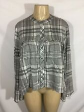 1af6aee12fba60 Anthropologie Cloth And Stone Button Down Plaid Top Bell Sleeve Size M