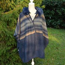 Veste Poncho Grande Taille 48 50 52 54 56 58 Fourrure bleu Antigua ZAZA2CATS