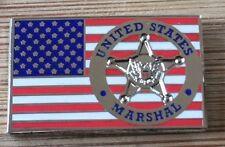 USMS - US Marshals Service DUSM - Badge/US Flag SILVER version Lapel Pin