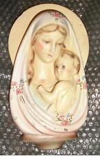 Icona metà 900 scultura gesso a forma santiera Madonna Bambin Gesù camera bimbo