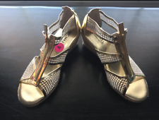 NEW GIRLS MICHAEL KORS LOGO GIRLS MK ESPADRILLE WEDGE SANDALS GOLD SHOES SIZE 3