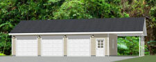 40x24 3-Car Garage w/ Carport -- 960 sq ft -- PDF Floor Plan -- Model 1D