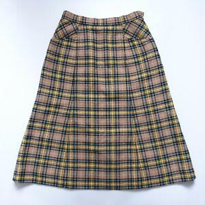 Vintage Gor-ray Plaid Wool Blend Midi Skirt UK Size 6-8 W25 L27 Tartan Check VGC