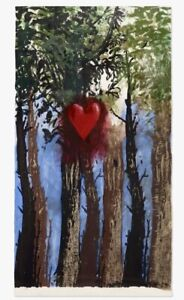 Jim Dine -Red Heart in the Forest up North -Original Woodcut painting