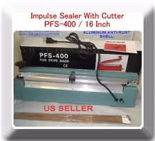 "16"" PFS400C Hand Impulse Sealer With Cutter +2 Heating Element + 2 PTFE Sheet"