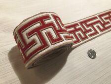 "3/4yd SAMUEL & SONS Greek Fret Embroidered Border 2.75"" Passementerie Trim $97R"