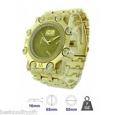NEW ICE MASTER GLITZ GOLD TONE,PAVE CRYSTAL BLING,OVERSIZE METAL MEN'S WATCH