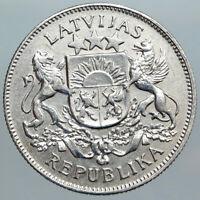1925 LATVIA Lions Shield ANTIQUE OLD Vintage Silver European 2 Lati Coin i89007