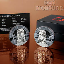 CHINESE GUARDIAN LIONS - Male & Female 2 Silver Coin Set in Box + COA 2017 PALAU