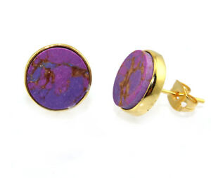 Round Multi-Color Turquoise Yellow Gold Plated Fashion Gemstone Stud Earrings