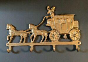 "Vtg Brass Key Holder Wall Hook Horses & Stagecoach 5""H x 8.5""L, Equestrian"