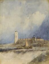 HARBOUR LIGHTHOUSE SUNLIT SQUALL PAINTING c1820 Attrib ALFRED VICKERS