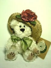 """Boyds Bears Minnie Higgenthorpe New with Tags 7"""" Bear with Straw/Flowered Hat"""
