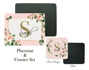 Personalised Placemat and Coaster Set, Pink Roses Name Tablemat, Christmas Gift