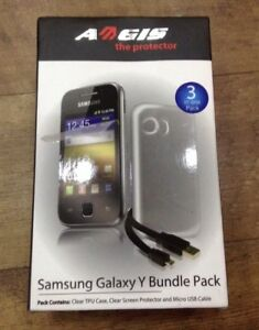 Samsung Galaxy Y Bundle Pack - Phone Case, Screen Protector & Micro USB Cable