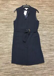 H&M Women's Sleeveless Belted Jacket Duster Coatigan Dark Blue 12 RRP£35