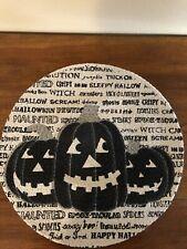 "Set of 4 Halloween 15"" Round Black & White Woven Cotton Placemats"