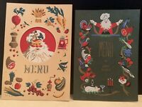 Lot of 2 vintage Menu Christmas cards. Chryson's One is a trifold.