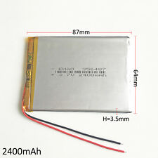 3.7V 2400mAh 356487 Recharge Battery LiPo Polymer For Mobile phone recorder GPS