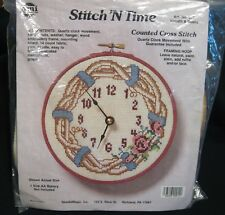 """Stitch In Time """"Wreath & Roses"""" Clock Counted Cross Stitch Kit NMI Art # 912"""