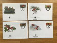 TRINIDAD & TOBAGO 1990 FDCs x 4 WWF BIRDS SCARLET IBIS