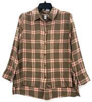 NWT Susina Womens Brown Pink Plaid Button Hem Hi/Low Plaid Shirt Petite Large