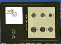 Coin Sets of All Nations Cyprus w/card UNC 1983-1990 1,10,20 Cents 1990 16OC84
