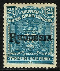 SG 103a RHODESIA 1909 - 2.5d PALE DULL BLUE (no stop) - MOUNTED MINT