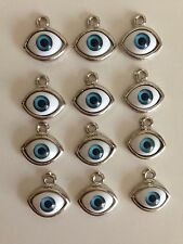12 pieces Oval Metal with Plastic Evil Eye Charm Pendant Blue NEW