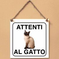 Siamese 2 Attenti al gatto Targa gatto cartello ceramic tiles