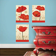 "WALLIES POPPIES wall stickers 3 decal big panels 8.5""x12"" red flowers room decor"