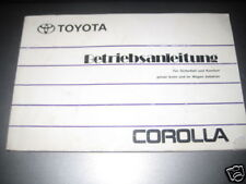 Operating Instructions Toyota Corolla, Stand 1992
