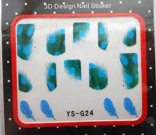 1 Paquet de Stickers Pour Ongles PLUMES Vertes tacheté Bleu -Réf. : YS-G24