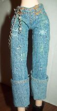 Bratz Barbie Denim Jeans Rolled Hems With beaded Chain & Jewels Trims