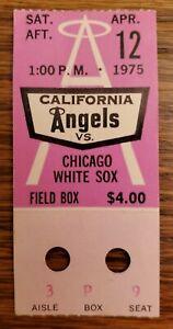 California Angels Chicago White Sox Baseball Ticket Stub 4/12 1975 L Stanton HR