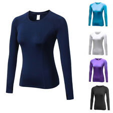 Women's Winter Warm Base Layer Fitness Gym Shirt Basic Thermal Long Sleeves Top