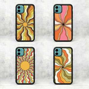 Sun Rays Seventies 70's Retro Groovy Waves Rubber Phone Case/Cover For iPhone