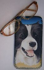 BORDER COLLIE DOG DESIGN NEOPRENE GLASS CASE POUCH SANDRA COEN ARTIST PRINT
