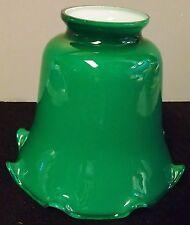 GREEN CASED GLASS LAMP SHADE DESK LAMP GLOBE FIXTURE OR FLOOR LAMP