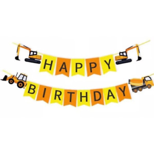 Construction Happy Birthday Banner Kids Boys Party Garland Bunting Decoration
