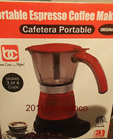Electric Cuban Coffee Maker Espresso 1/6 Cups cafetera electrica travel red roja
