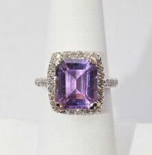 14k White Gold Amethyst and White Diamond Heart Ring - 7