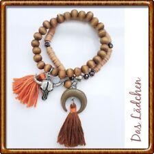 ❤️ 2 Armbänder * Boho * Holz * Quasten * Tassel * Braun Orange* Silber * Neu ❤️