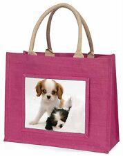 Cavalier King Charles Spaniels Large Pink Shopping Bag Christmas Pr, AD-SKC10BLP