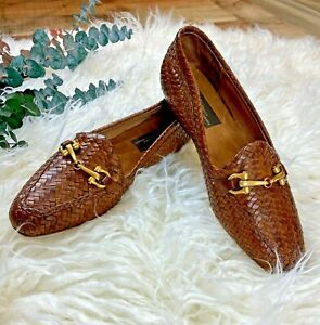 Sesto Meucci Brown Woven Leather Horse bit Loafer Size 6 Italy