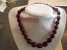 "Antique Vtg Cherry Bakelite Faturan Olive Shaped Graduated Beaded 15"" Necklace"