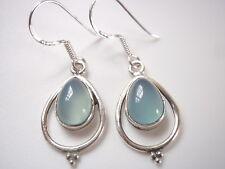 Chalcedony Teardrop in Hoop 925 Sterling Silver Dangle Earrings