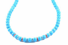 Semi-Precious 10mm Gemstone Turquoise Round Beads 19 inch Handmade Necklace