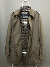 Men's HERNO Trench Coat Puffer Jacket Solid Size 54 Button Front Insulated Olive