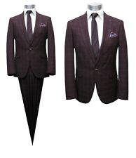 Herren Anzug mit Weste Tailliert Gr.48 Burgundy rot